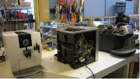 Werkplaats voor reparaties en onderhoud van espressomachines